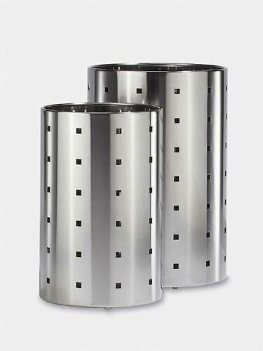 Corbeille à papier Quadro H 37,5 cm, Ø 20 cm | acier inox, mat