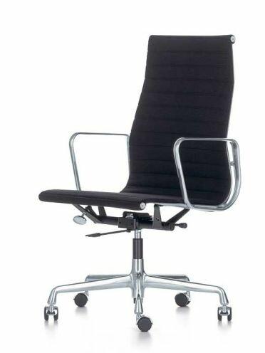 Fauteuil de bureau pivotant Alu-Chair, dossier haut tissu   noir, piétement : aluminium, chromé