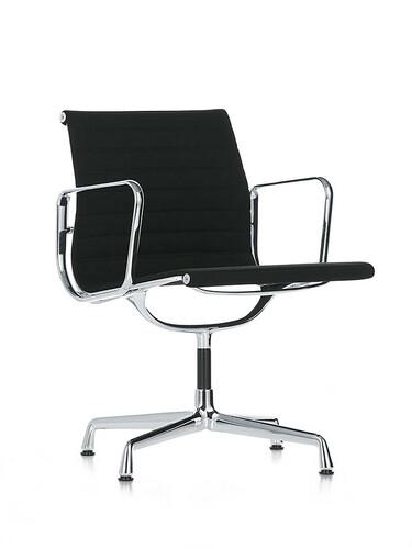 Chaise visiteur Alu-Chair tissu, piétement chromé | noir