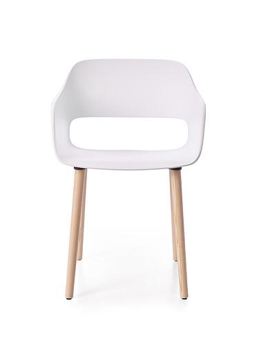 Chaise à accoudoirs Babila sans rembourrage | blanc / piétement : frêne blanchi