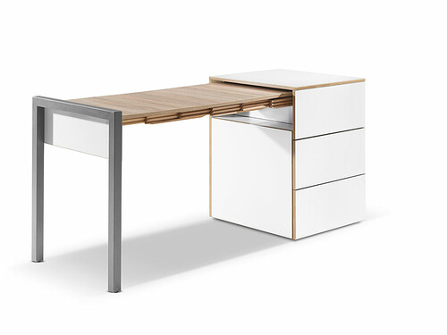 Table escamotable Alwin's Space Box Extensible côté gauche | blanc