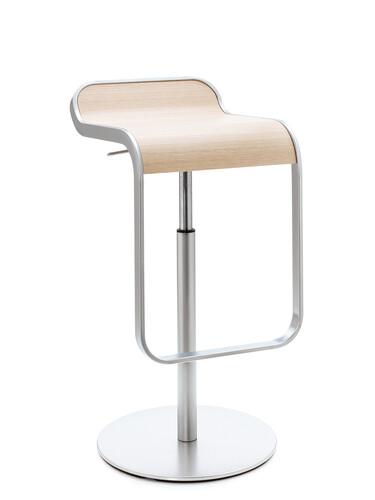Tabouret de bar Lem chromé mat | hauteur 63-75 cm | chêne décoloré