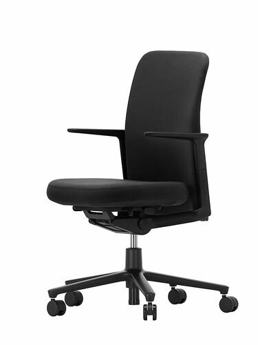 Chaise de bureau pivotante avec accoudoirs Pacific Chair dossier bas, accoudoirs   pied plastique, noir, housse noir