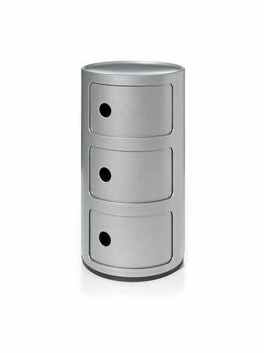 Meuble de rangement Componibili 3 compartiments | argenté