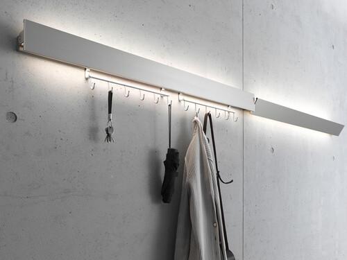 Lampe murale Luminaire portemanteau GL 8 Version avec LED blanche réglable | Largeur 60 cm | couleur aluminium