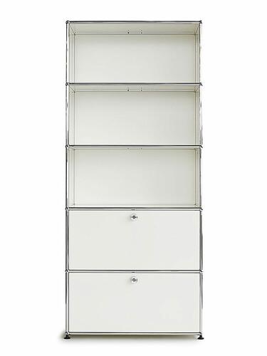 Etagère USM 5 étages, largeur 78cm, 2 portes abattantes   blanc pur