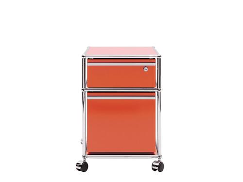 Caisson à roulettes USM rangement pour dossiers suspendus, avec serrure   orange pur