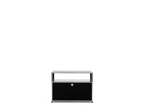 Sideboard USM 1 casier | 1 porte abattante, 1 espace ouvert | noir graphite