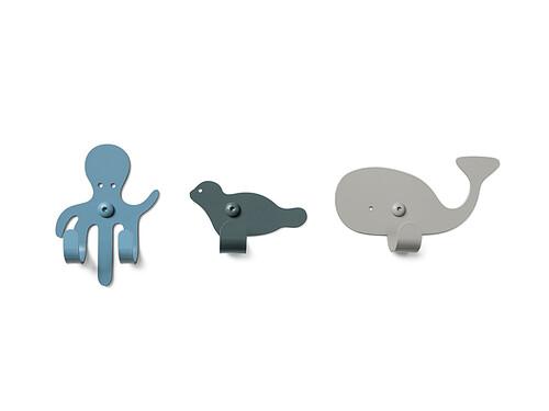 Crochets muraux (lot de 3) Zoo Océan   bleu ciel / gris bleu / gris clair
