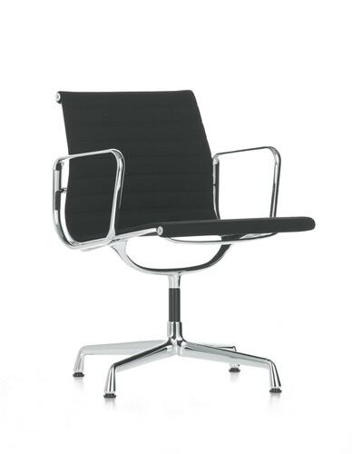 Besucherstuhl Alu-Chair Stoff, Gestell verchromt | schwarz