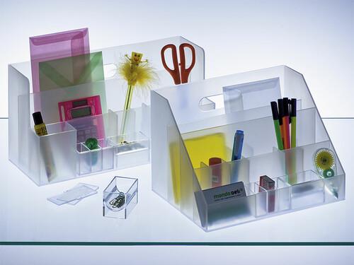 Schreibtisch Organizer H 18 cm, B 34,4 cm, T 13,2 cm | transparent-weiß