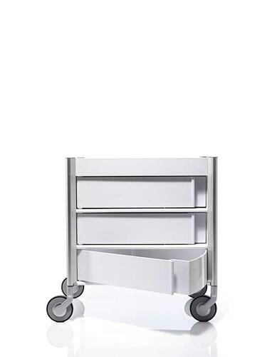 Trolley Ally Aluminium, natur | weiß