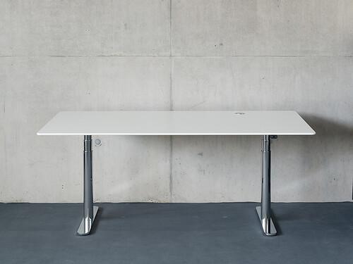 Arbeitstisch HiLow 2 180 x 90 cm | verchromt/weiß