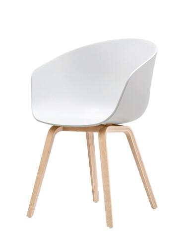 Armlehnstuhl About A Chair AAC AAC22, Gestell: Eiche natur | Sitzschale: Polypropylen | weiß