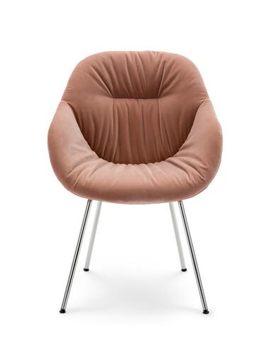 Armlehnstuhl About A Chair AAC AAC127, Gestell: verchromt | Sitzschale: gepolstert (Velours) | Velours rose