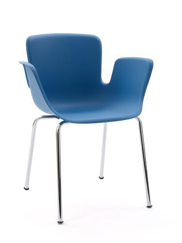 Armlehnstuhl Juli Plastic Beine: verchromt glänzend | blau