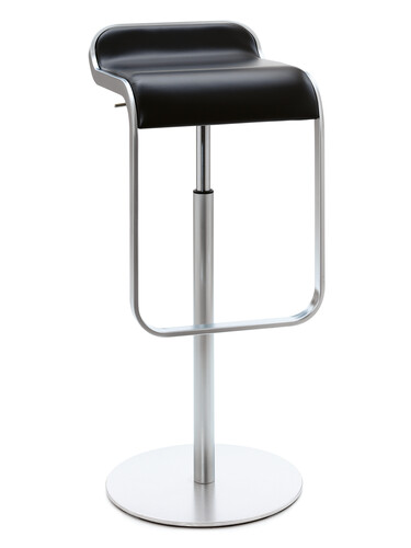 Barhocker Lem Höhe 74-87 cm | matt verchromt | Leder, schwarz
