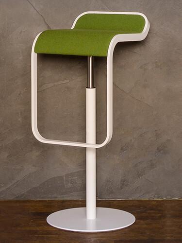 Barhocker Lem Höhe 74-87 cm | weiß lackiert | Stoff, grün