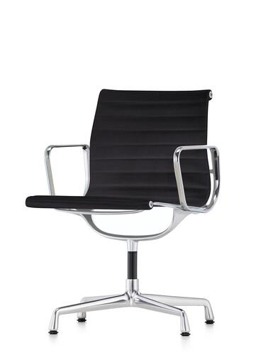 Besucherstuhl Alu-Chair mittelhoher Rücken | Gestell: Aluminium, verchromt / Stoff, schwarz | mit Standfüßen