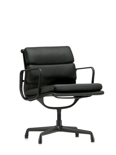 Besucherstuhl Soft-Pad mittelhoher Rücken | Gestell: Aluminium, tiefschwarz / Leder, schwarz | mit Standfüßen