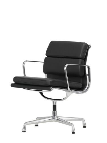 Besucherstuhl Soft-Pad mittelhoher Rücken | Gestell: Aluminium, verchromt / Leder, schwarz | mit Standfüßen