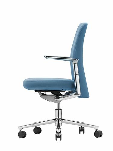 Bürodrehstuhl Pacific Chair mit fixierten Aluminium-Armlehnen; Gestell: Aluminium   Alu/eisblau