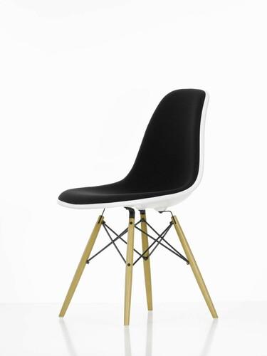 Eames Plastic Sidechair DSW 47,5 | Sitzschale weiss, Vollpolster schwarz