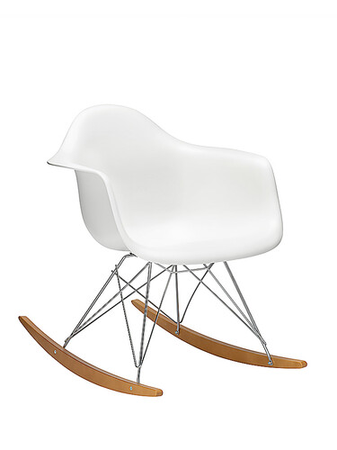 Eames Plastic Armchair RAR Schaukelstuhl neue Sitzhöhe | weiß