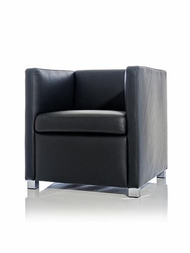 Sessel ID 20: H 67 x B 66 x T 68 cm | Nappaleder, schwarz
