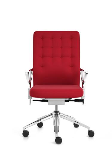 Bürodrehstuhl ID Trim Halbhoher Rücken, mit Ringarmlehnen | Stoff, rot