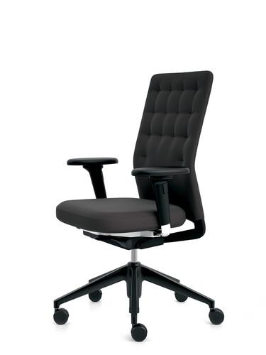 Bürodrehstuhl ID Trim Halbhoher Rücken, mit 2D Armlehnen | Stoff, schwarz