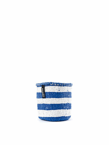 Korb Kiondo Höhe 16 cm, Ø 15 cm | blau-weiß gestreift