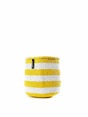 Korb Kiondo Höhe 21 cm, Ø 24 cm   gelb-weiß gestreift