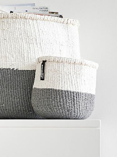 Korb Kiondo H 16 cm, Ø 15 cm | grau/weiß