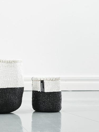 Korb Kiondo Höhe 16 cm, Ø 15 cm | schwarz-weiß