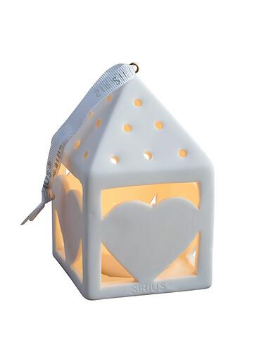 LED-Teelichtlaterne Olina Heart, eckig   weiß