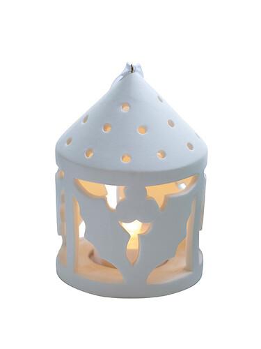 LED-Teelichtlaterne Olina Holly, rund | weiß