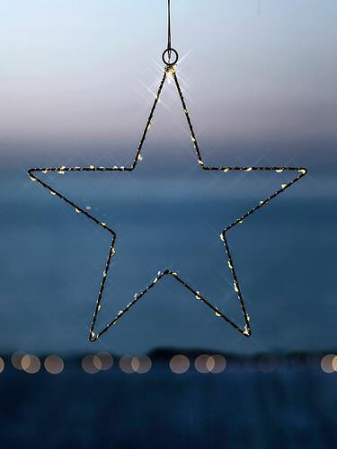 Weihnachtsanhänger Liva Star Ø 30 cm – batteriebetrieben | schwarz