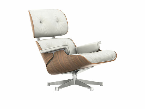Lounge Chair XL Lounge Chair XL einzeln, Höhe 89 cm (Neue Maße von 2010) | Nussbaum, Bezug Leder weiß