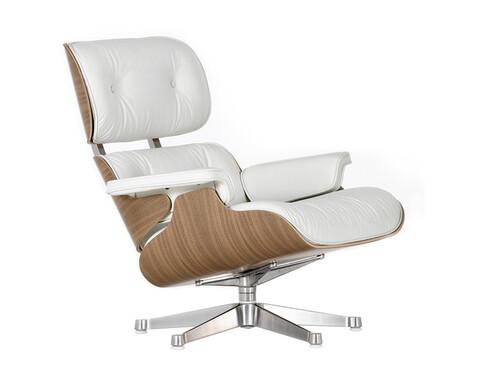 Lounge Chair XL Lounge Chair XL einzeln | Leder Premium | Nussbaum, Leder weiß