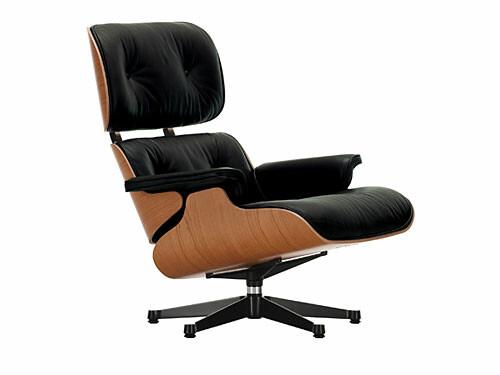 Lounge Chair XL Lounge Chair XL einzeln, Höhe 89 cm (Neue Maße von 2010) | Amerikanischer Kirschbaum, Bezug Leder schwarz