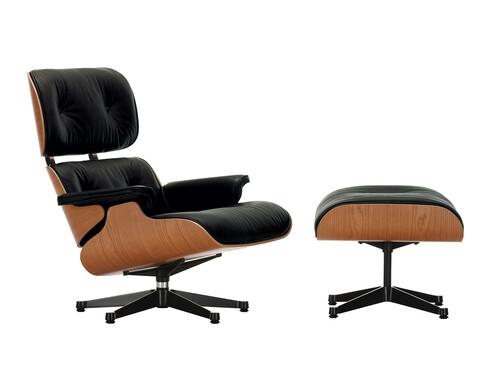 Lounge Chair XL und Ottoman Lounge Chair XL mit Ottoman | Leder Premium F | Kirschbaum, Leder schwarz