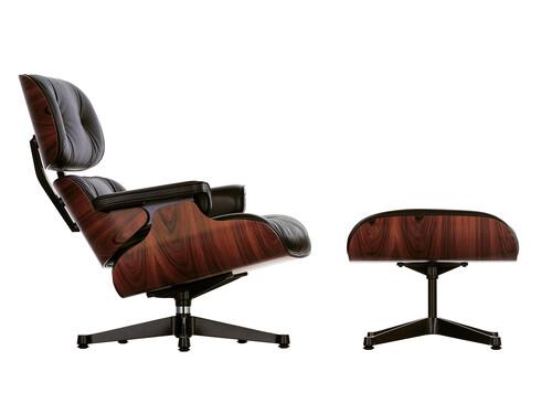 Lounge Chair XL und Ottoman Lounge Chair XL mit Ottoman | Leder Premium | Palisander, Leder schwarz