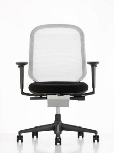 Bürodrehstuhl MedaPal mit Armlehnen | Rücken: weiß, Sitz: schwarz