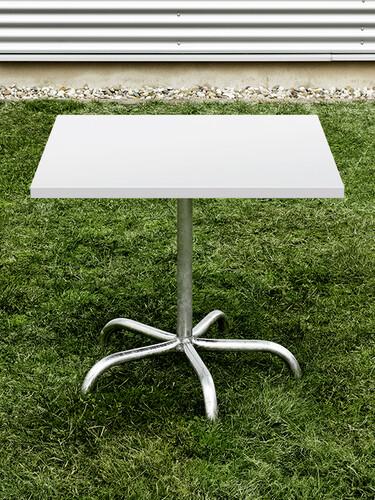 Metalltisch Säntis quadratisch 80 x 80 cm | weiß/feuerverzinkt