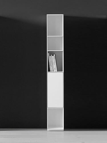 Schrank/Regal Nex Pur B 30 cm, Regal mit kleiner Tür unten | weiß