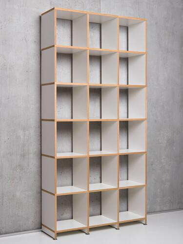 Regalsystem Mocoba Premium Höhe: 218 cm   weiß mit Eichekante