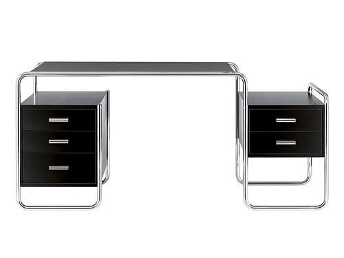 Thonet Schreibtisch S285 mit 3 und 2 Schüben | Esche offenporig schwarz decklackiert; Gestell: verchromt