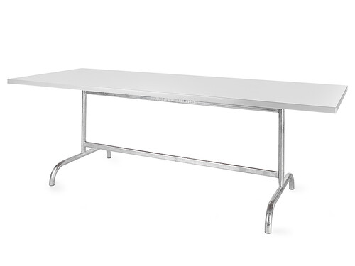 Metalltisch Säntis rechteckig 240 x 80 cm   weiß/feuerverzinkt