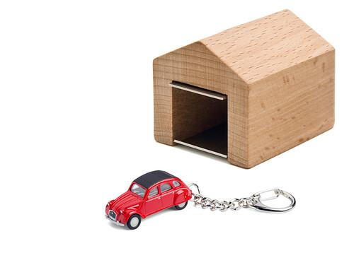 Schlüsselanhänger Citroën 2CV mit Garage